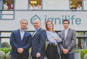 Ignilife board team. From left to right: Fabrice Pakin (CEO), Nicolas Aubert (Creative Director), Elisabeth Pakin (Chief Medical Officer), David Bessoudo (CTO)