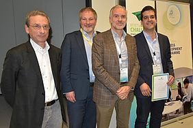 Privacy, Security & Trust EIT Digital Idea Challenge 2014 finale in Trento, Italy. From left to right: Fabio Pianesi and Dennis Moynihan (EIT Digital), Thierry Rouquet and Laurent Hausermann (Sentryo).
