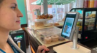 PeasyPay in action in a cafeteria in Budapest, Hungary