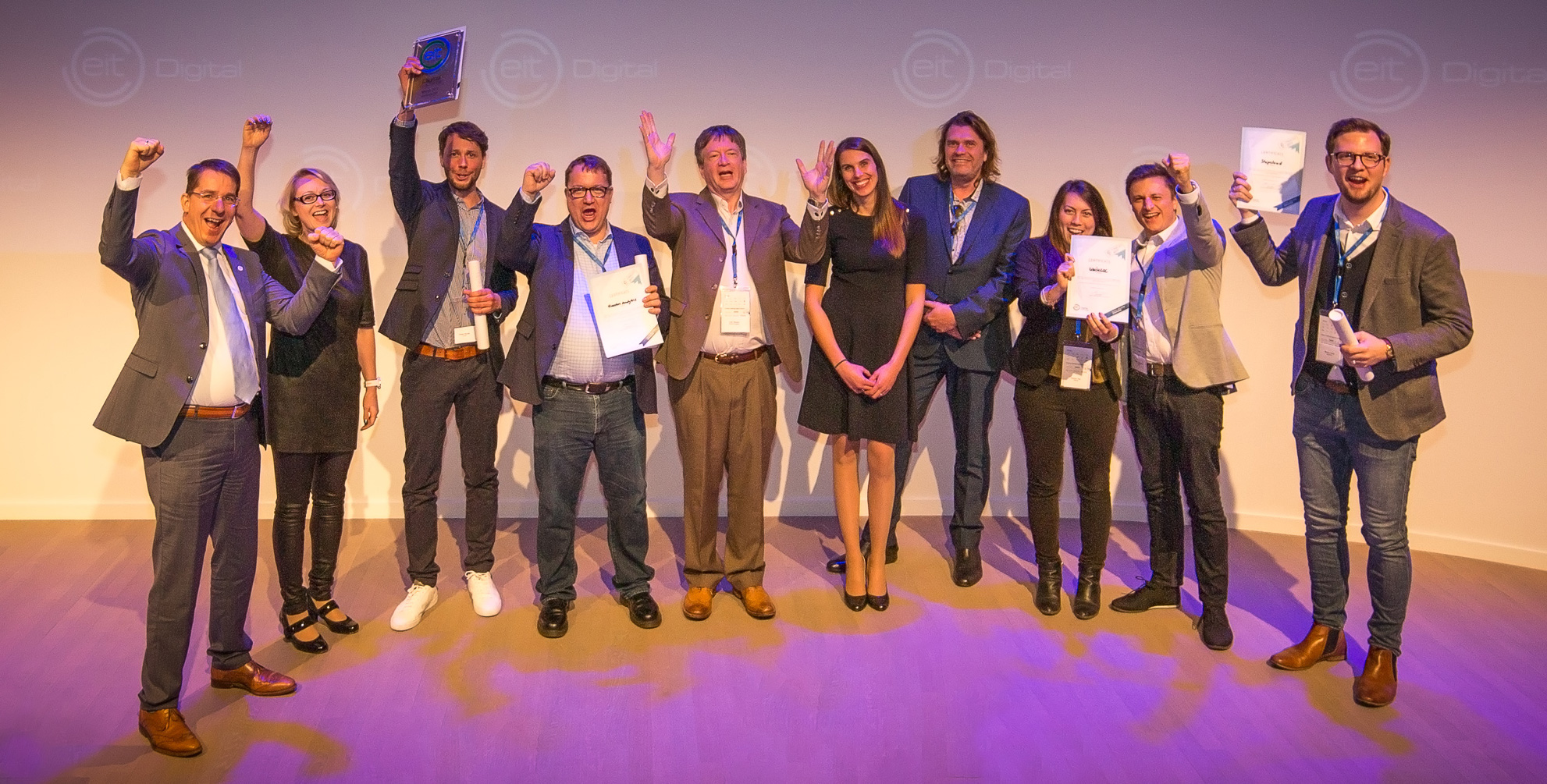 Finalists on stage at the EIT Digital Challenge final: ContactEngine, Houston Analytics, Shipcloud, trinckle 3D, Uwinloc